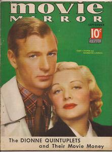 MOVIE MIRROR • SEPT 1936 • GARY COOPER & MADELEINE CARROLL cover •