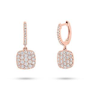 0.54CT 14K Rose Gold Round Diamond Dangling Dangle Drop Square Cushion Earring