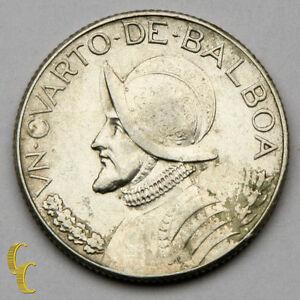 1932 Panama 1/4 Balboa Silver Coin in XF KM# 11.1