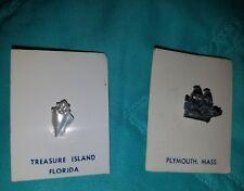 2 Souvenir LAPEL PINS,Treasure Island,Florida + Plymouth, MA