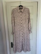 Nobody's Child Leopard Print Dusky Pink Size 10 Button Down Midi Summer Dress