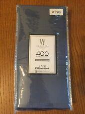 New Set of 2 Blue 100% Cotton Sateen 400 Thread Count Wamsutta King Pillowcases