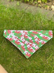Wales Welsh Flag Dragon Bandana Neckerchief Slide on Collar Scarf Neck Tie