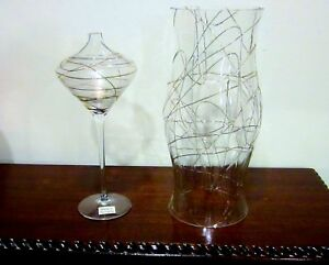 Romania Clear Glass Set Gold Trim Hurricane Shade Chimney & Matching Vase.