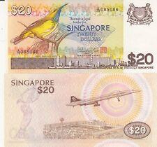 Billets banque SINGAPORE SINGAPOUR 20 $ avion CONCORDE AIR FRANCE NEUF NEW UNC