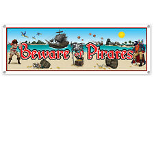GIANT BEWARE OF PIRATES BANNER - 160CM PARTY DECORATION