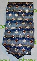 JOHN WEITZ Blue Khaki Beige Burgundy Gold Striped Cross Medallion Silk Tie USA