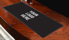 CUSTOMISED BAR RUNNER ANY LOGO BLACK Bar Towel Runner Pub Mat Beer Cocktail