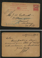 Barbados  nice postal  card to  US   1907        SSS0827