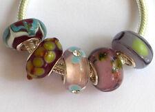5 x Beads Sterlingsilber und Glasperle *** AUS ECHTEM SILBER und Glas, bunt