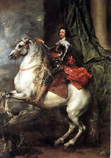 Oil painting male portrait king of Charles I on white horse in landscape canvas