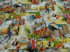 "tela patchwork de Makower ""Gatsby SCENIC"" - All Over / 50 x 110cm 100% BW"