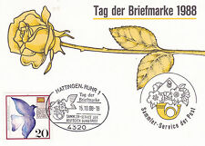 West Germany 1988 Stamp Day Fdc Hattingen Cds Special Card