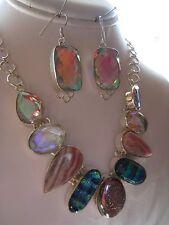 Sterling Silver Topaz Quartz Rhodochrosite Druzy Dicroic Glass Necklace