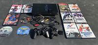 Sony PlayStation 2 Fat Console Black SCPH-30001 W/12 Games, Mem Card, & Control