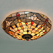 Vintage Stained Glass Ceiling Lights Tiffany Style Dragonfly Hanging Lamp