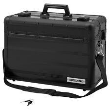 anndora Pilotenkoffer Businesskoffer TSA Schloss Aluminium Schwarz Handgepäck