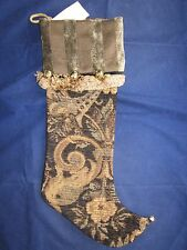 WOOF & POOF Christmas Stocking 2002 Brown Tapestry ~ NEW with TAG BUTTON
