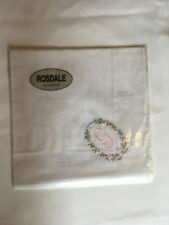Monogrammed Handkerchief with pink letter G in floral wreath. new in packet