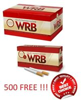 1000 + 500 FREE  CIGARETTE FILTER TUBES WRB MAKE YOUR OWN