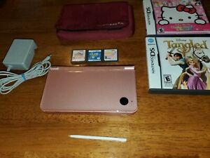 Nintendo DSi XL Metallic Rose Console UTL-001 w/5 Games, Case, Charger & Stylus