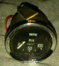 Vintage Smiths Mechanical Oil Pressure Gauge and Bracket / Bulb