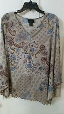 Lane Bryant Women 18/20 W  Popover Design Long Sleeve Shirt Brown/Blue USA MADE