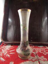 ancien vase en verre emaillé a decor floral violettes epoque 1900