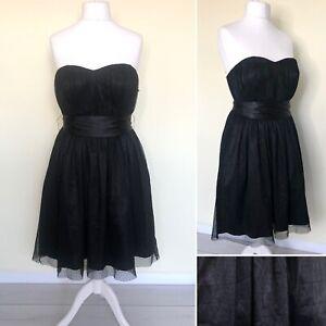 M&S Black Dress UK 16 Strapless Lace Mesh Tie Belt Babydoll Party Cocktail NEW