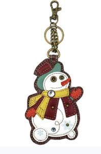 Chala Frosty Snowman Whimsical Key Chain Coin Purse Bag Fob Charm