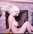 1960s+Original+Nude+Color+Transparency++Buxom+Barefoot+Blonde+by+Fireplace+vv