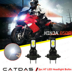 2X H7 LED Headlight Bulbs 6000K For Kawasaki Ninja 650R 2006-2011 650 2012-2019
