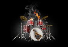 Encadrée imprimer-badass tambour kit on fire (instrument de musique photo poster art)
