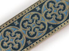 "Light Blue 2¼"" Christian Vestment Jacquard Trim Pugin 3 Yds Chasuble Orphrey DIY"