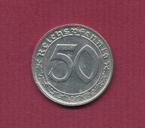 """1939;50 Reichspfennig (N) TT6305, Prägung """"G"""" , Mi.Nr.90 Erh. VZ+"""