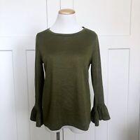 J Crew Womens Shirt Size Medium Gold Sparkle Bell Sleeve H1877 Green NEW