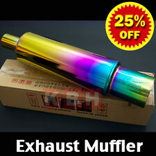 "2"" Inlet 3.5"" Tip Burnt Neo Chrome Rainbow Stainless Steel Exhaust Muffler JDM"