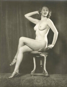 """Alfred Cheney Johnston - Lucille Bremer Seated Nude 1920s - 17"""" x 22"""" Art Print"""