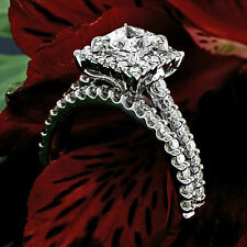 2.64 CT PRINCESS CUT DIAMOND HALO ENGAGEMENT RING 14K WHITE GOLD