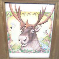 Shannon Cartwright Bou Print Framed Signed Numbered Alaskan Wildlife Art Caribou