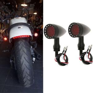 Motorcycle LED Bullet Brake Stop Running Turn Signal Tail Light For Bobber Cafe
