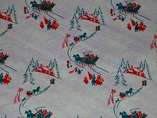 VTG CHRISTMAS STORE WRAPPING PAPER GIFT WRAP 2 YARDS 1940 WW2 ERA SLEIGH RIDE