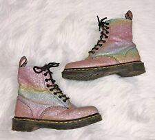 Dr. Martens Pascal Glitter Lace Up Combat Boots Women's Size 6