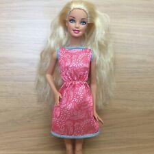 Barbie Doll Blonde Hair Blue Eyes Pink Dress - Articulated Legs & Bent Arm Pose