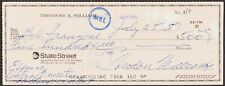 TED WILLIAMS SIGNED PERSONAL CHECK RED SOX HOF HUNT/CLAUDIA COA FREE SHIPPING!