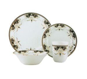 16PC Dinner Set Black Gold Design Porcelain Plate Mug Side Bowl Soup Dinnerware