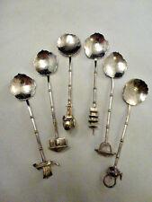 6 Vintage  Asian / Oriental Figural Bamboo Demitasse Spoon Sterling Silver 950