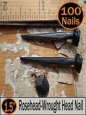 """1.5""""  Rose Head Historic Antique Style Nails - Square Wrought Head -(100) 4d"""