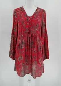 Free People Long Sleeve Lace-Up Chest Paisley Crochet Detail Dress Red Medium
