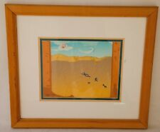 "Vintage Native American Scherenschnitte Paper Art Signed ""CYNTHIA GALE"" '93"